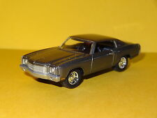1970 CHEVY MONTE CARLO SS V8 CHARCOAL 1/64 SCALE LIMITED EDITION REAL RUBBER