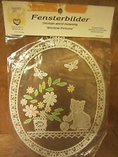 "Lace embroidery wall decor Fensterbilder German ""Window Picture"" kitten, oval"