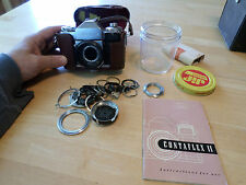 ZEISS IKON Contaflex II + lens parts + Case + MANUAL ;  UNTESTED
