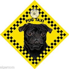 BLACK PUG TAXI - NEW Waterproof Laminated Glass Window Car Truck RV Sign GIFT