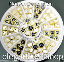 #ER55 Nail Art Deco Black White Clear Square Roound Glitter Ceramic Rhinestones