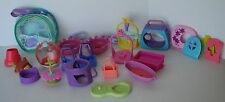 HUGE LOT OF LPS Littlest Pet Shop Carriers, Stands, Storage Bag, cart
