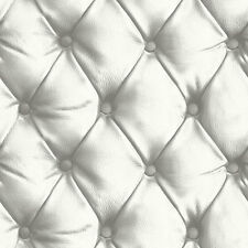 Arthouse Luxury Opera Leather Faux cushioned headboard wallpaper White Desire