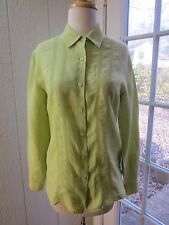 Brooks Brothers 100% Irish Linen Green Button Up Point Collar Blouse Women 2 **