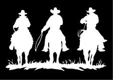 WHITE Vinyl Decal 3 Cowboys on horseback fun truck trailer horse country sticker