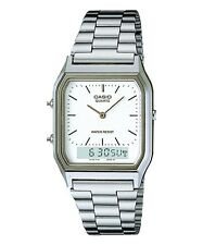 Casio AQ230A-7D Men's Silver Tone Metal Band Analog Digital Dual Time Watch