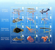 BAT British Antarctic Ter 2016 MNH Ocean Zones 12v M/S Fish Squid Octopus Stamps