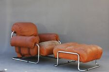 VINTAGE GUIDO FALESCHINI LEATHER LOUNGE CHAIR & OTTOMAN - ITALY KNOLL MODERN