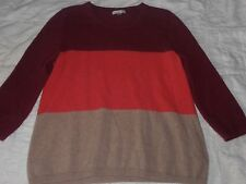 Garnet Hill 3/4 Sleeve Color Block 100% Cashmere Scooped Neck Pullover Sweater/M