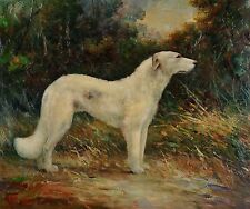 Vintage Dog Painting 20X24 Original Oil on Stretched Canvas