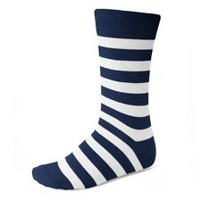Men's Navy Blue and White Striped Socks - Striped Socks Are Cool