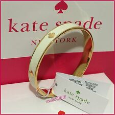 NEW Authentic Kate Spade New York Cream Bangle Bracelet with Gold Plated Spade