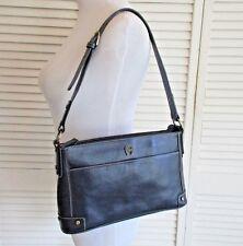 Etienne Aigner Blue Cowhide Leather Medium Shoulder Bag Purse W/Studs