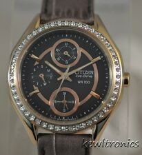 New Citizen Eco Drive FD1063-06H POV 2.0 Rose gold Crystal Leather Luxury Watch