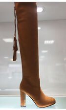 WOMENS LADIES FAUX SUEDE TAN BROWN OVER KNEE HIGH THIN HEEL CASUAL BOOTS SIZE 5