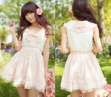 Princess Cute Sweet Dolly Wedding Lolita Kawaii Lace sailor Collar Dress Pink