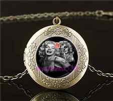 Vintage Skull Marilyn Monroe Cabochon Glass Brass Locket Pendant Necklace
