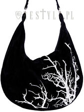 Restyle White Branches Sack Bag Velvet Hobo Tree Embroidery Handbag Goth Witch