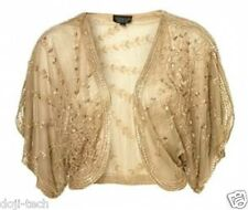 Topshop Antique Gold Sequin Beaded Vtg Kimono Cape Dress Jacket 8 + 10 36 38 S