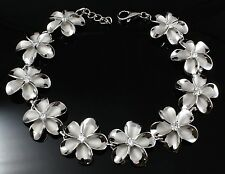 15MM STERLING SILVER 925 HAWAIIAN PLUMERIA FLOWER LINK BRACELET RHODIUM 7.5 INCH