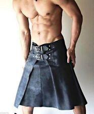 New Men Leather Kilt Tailor Made Genuine Lambskin Gladiator Warrior Black Kilt