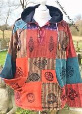 "EARTHY HIPPIE PATCHWORK FLEECE LINED TOP JACKET LARGE 44"" 46"" CHEST UK 14 16"