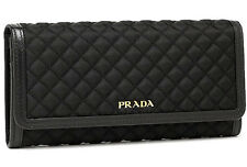 PRADA Quilted Calfskin & Nylon WALLET (+ID Holder w/ Chain) 10 Credit Card Slips