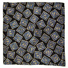 "New SANTOSTEFANO Black Blue Taupe 12"" Silk Pocket Square Handkerchief NWT $150"