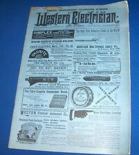 WESTERN ELECTRICIAN mag 3/11/1899 Telephone # Switchboard Wall parts +great ads