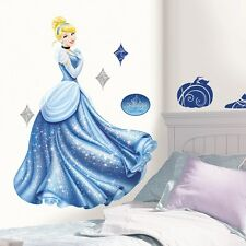 GIANT CINDERELLA GLAMOUR WALL DECALS Disney Princess Stickers Blue Room Decor