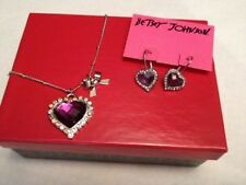 Betsey Johnson Necklace AMETHYST Sweetheart Necklace Silver w/Matching Earrings