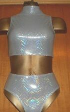 SILVER HOLOGRAM HIGH NECK CROP TOP AND PANT/5/6 YEAR/FREESTYLE COSTUME