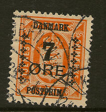 DENMARK: 1926 Officials surcharge 7 ore on  1 ore orange  SG238 used
