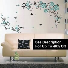 Autocollants muraux arbre fleur nursery kids art decals papillon vinyle decor --- D543 - >