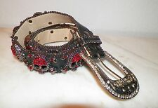 WOMEN'S BLACK LEATHER BELT WITH RED RHINESTONE SKULLS AROUND HEAVY USED