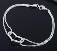 Femme Bracelet 925 Argent Sterling Coeur Amour Chaîne Bijoux Gourmette Neuf IDXX