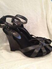 G Series By Cole Haan Wedge Platform Ankle Strap Sandal Black Size 6 1/2B