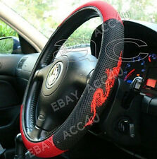 Black Red Dragon Logo Mesh Look Fabric Car Steering Wheel Cover