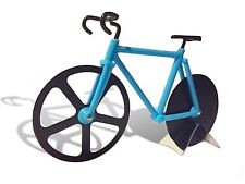 Premium No-Stick Blue Bicycle Pizza Cutter with Kickstand Included Stainless ...