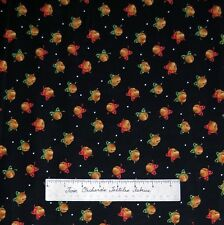 Christmas Classics Fabric - Bells & Red Green Bows on Black Maywood Cotton YARD