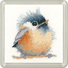 Heritage Crafts Little Friends Cross Stitch Kit  Chickadee Coaster