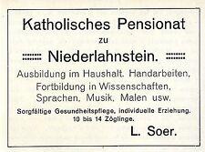 Katholisches Pensionat zu Niederlahnstein L.Soer Historische Annonce 1906
