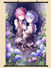 Rem Ram Wall Scroll Re:Zero art gift demon Maid Fabric Anime poster Forest Pose
