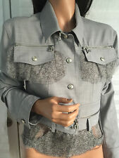 Authentic CHRISTIAN DIOR Boutique Gray Wool Blend D-Charms Silk Trim Jacket 12