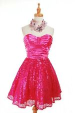 NWT $435 Betsey Johnson Evening Moon Dream Sequin Strapless Prom Dress 6 Fuchsia