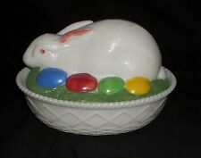 "Westmoreland HAND PAINTED *7 1/4"" RABBIT w/EGGS ON OVAL BASE*RB4"