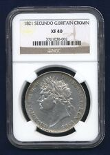 GREAT BRITAIN / ENGLAND  GEORGE IV  1821  1 CROWN SILVER COIN CERTIFIED NGC XF40