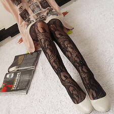 New Womens Jacquard Black Lace Fishnet Pantyhose Tights Stockings Hosiery Black