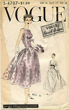 1950's VTG VOGUE Misses' Dress Pattern 4707 Size 14