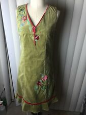 $368 Oilily Women's Green Floral Embroidered Cotton Sleeveless Dress 36 NWT